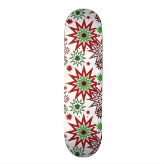 Red and Green Holiday Christmas Snowflakes Pattern Skateboard Decks