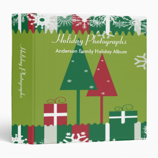 Red and Green Holiday Photographs 3 Ring Binder