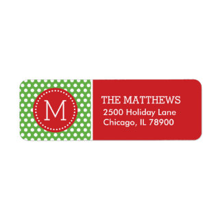 Red and Green Holiday Polka Dots Monogram Label