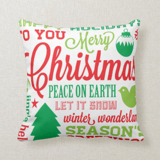 Red and Green Holiday Subway Art Pillow