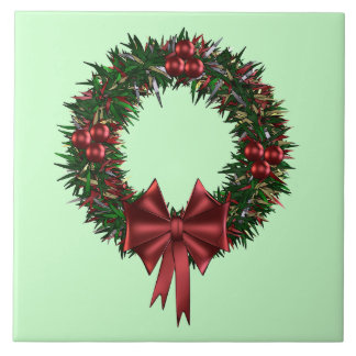 Red and Green Holiday Wreath Decorative Tiles