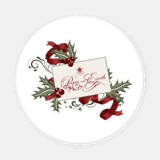 Red and Green Holly Berries Christmas Greetings Coaster Set