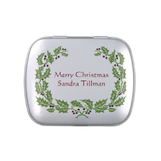 Red and Green Holly Christmas Candy Tin