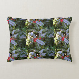 Red And Green Holly Cushion