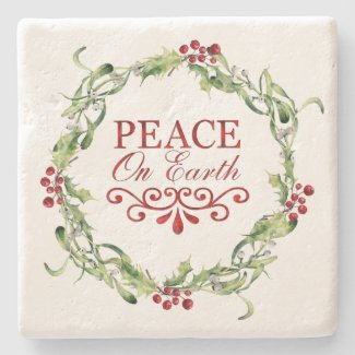 Red and Green Holly Wreath Peace on Earth Stone Coaster