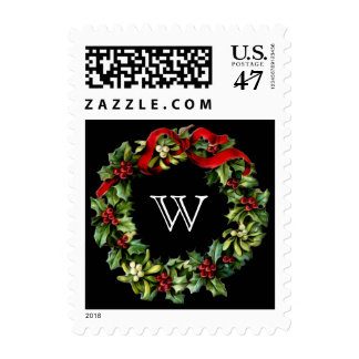 Red and green Holly Wreath with Monogram Initial Postage Stamp