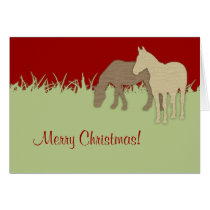 Red and Green Horse Christmas Card
