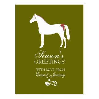 Red and Green Horse Damask Christmas Card Postcard