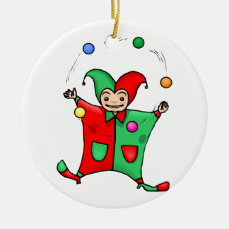 Red and Green Jester Double-Sided Ceramic Round Christmas Ornament