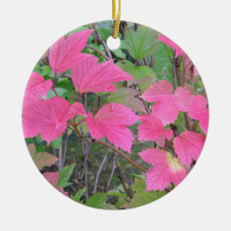 red and green leaves ceramic ornament