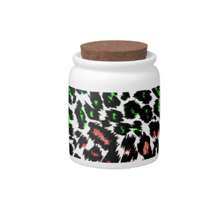 Red and Green Leopard Spots Candy Jars