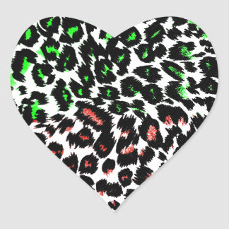 Red and Green Leopard Spots Heart Sticker