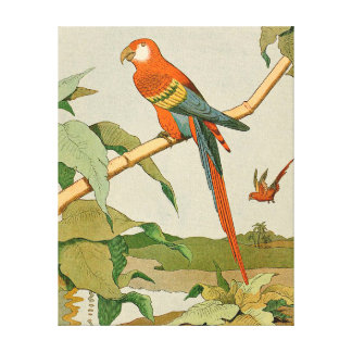 Red-and-Green Macaw Jungle Parrot Canvas Print