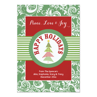 Red and Green Medallion Holiday Card