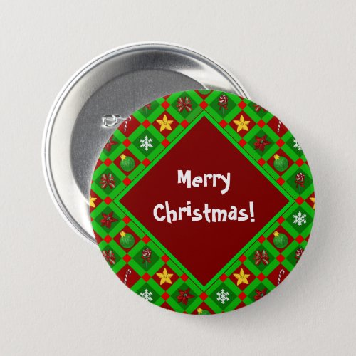 Red And Green Merry Christmas Pattern Button