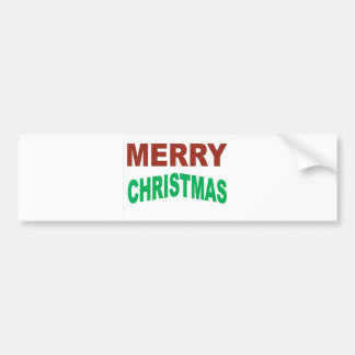 Red And Green Merry Christmas Text Bumper Sticker