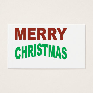Red And Green Merry Christmas Text Business Card