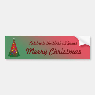 Red and Green Merry Christmas Tree Car Bumper Sticker