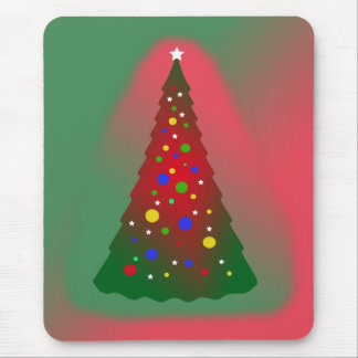 Red and Green Merry Christmas Tree Mouse Pad