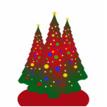 Red and Green Merry Christmas Tree Photo Cutouts