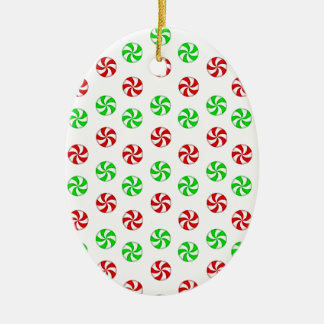 Red and Green mints Ceramic Ornament