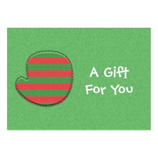 Red and Green Mitten Gift Tags Large Business Card