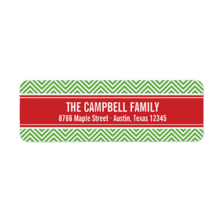 Red and Green Modern Chevron Label