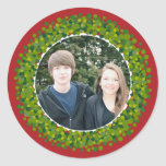 Red and Green Modern Christmas Wreath Round Stickers