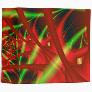 Red and Green Neural Network Spiral 3 Ring Binder
