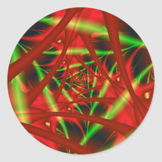 Red and Green Neural Network Spiral Classic Round Sticker