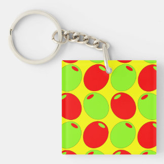 Red And Green Olives Single-Sided Square Acrylic Keychain