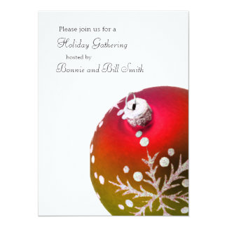 Red and Green Ornament Holiday Gathering Card