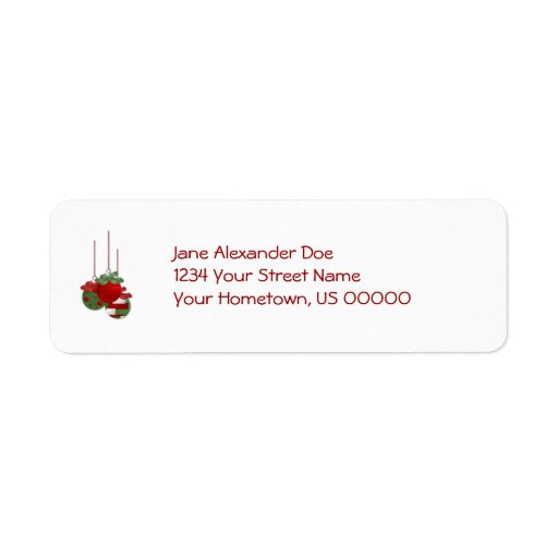 Red and Green Ornaments Return Address Label