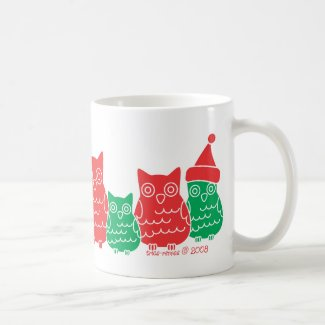 Red and Green Owls Coffee Mug