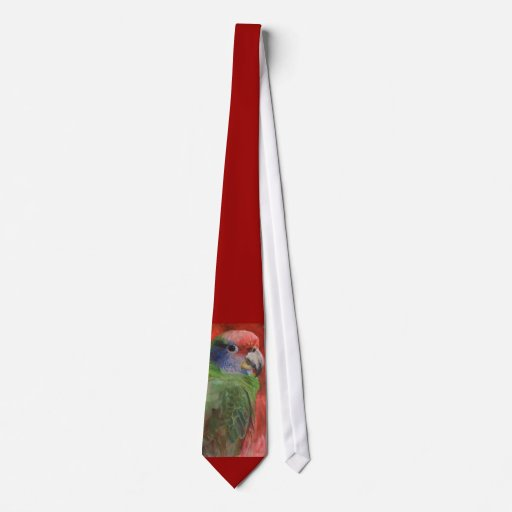 Red and Green Parrot Bird Lovers Necktie
