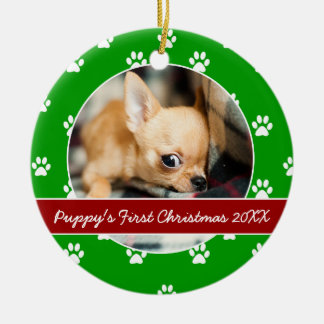 Red and Green Paw Prints Puppy's First Christmas Ceramic Ornament