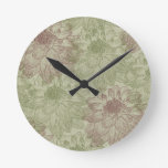 Red and Green Peonies Round Clock