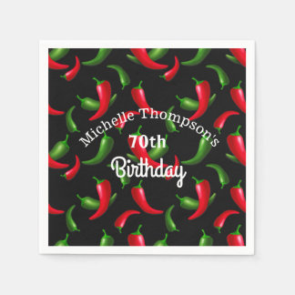 Red and Green Pepper Birthday Napkins