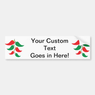 Red and Green Pepper Graphic on a string Car Bumper Sticker