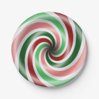 Red And Green Peppermint Swirl 7 Inch Paper Plate