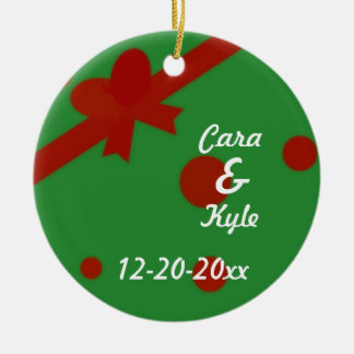 Red and Green Personalized Xmas Present Ornament