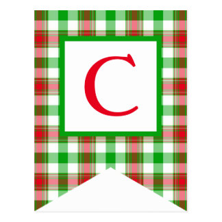 Red and Green Plaid #3 Bunting Flag Postcards