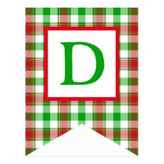Red and Green Plaid #4 Bunting Flag Postcards