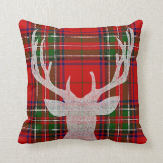 Red and Green Plaid Christmas Pillow with Deer