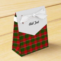 Red And Green Plaid Fabric Background Favor Boxes