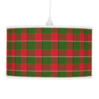 Red And Green Plaid Fabric Background Hanging Pendant Lamps