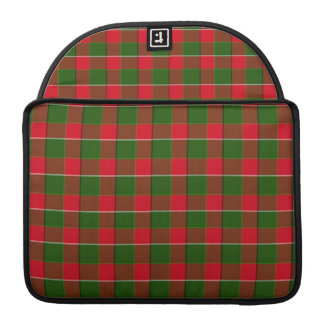 Red And Green Plaid Fabric Background MacBook Pro Sleeve