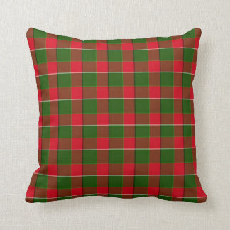 Red And Green Plaid Fabric Background Throw Pillow