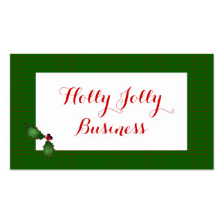 Red and Green Plaid Holly Business Cards