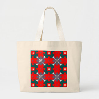 Red and Green Plaid Large Tote Bag